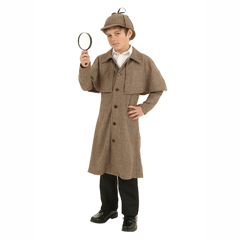 Boy's Sherlock Holmes Costumes Children Winter Warm Trench Coat Hat Adjustable Ribbon Costume For Boys Detective Anime Cosplay
