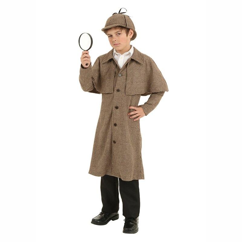 Garçon Sherlock Holmes Costumes enfants hiver chaud Trench manteau chapeau réglable ruban Costume pour garçons détective Anime Cosplay