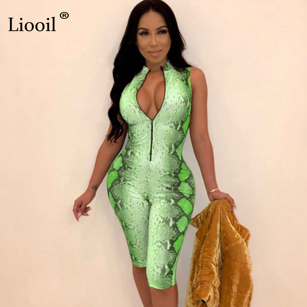 Liooil Snake Print One Piece New   Jumpsuits   2019 For Women Club Wear Bodycon Party Tight   Jumpsuit   Long Zip Up Romper Sexy Overall