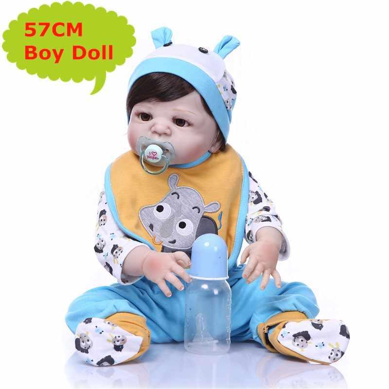NPK 55 см Мягкая силиконовая кукла реборн девочка игрушки Реалистичные Младенцы Boneca полный винил Мода куклы Bebe Reborn Menina