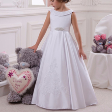 Princess Satin Little Kids Baby Cloths Party Gown Flower Girl Dresses For Wedding First Communion Gowns Special Occasion Dresses spaghetti straps blush pink sweetheart flower girl dresses ball gown ruffes little princess holy the first communion gowns