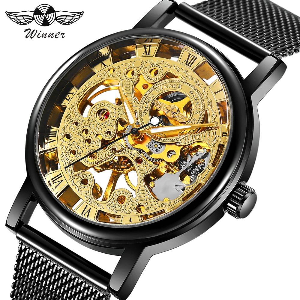 WINNER Ultra Thin Business Men Skeleton Mechanical Watch Black Mesh Strap Double Deployment Fashion Design Hand-Wind Wristwatch winner men fashion black auto mechanical watch leather strap skeleton dial square shape round case unique design cool wristwatch