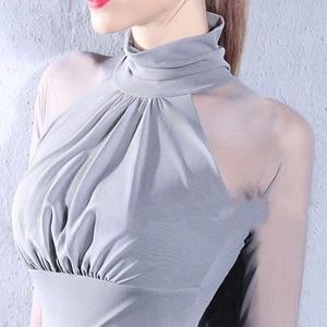 Image 2 - Beauty Mesh Modern Dance Tops For Women Black Burgundy White Sliver Fabric Shirt See Through Latin Ballroom Dance Clothes