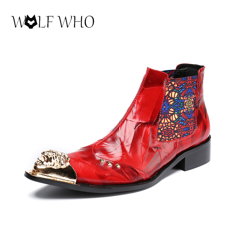 Gold Pointed Toe Red Men Formal Wedding Dress Shoes Ankle Boots Real Leather Buckles Botas Hombre Cowboy Short Boots Men Flats