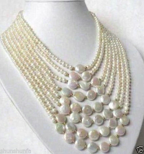Free shipping@@@@@ 8 Rows 6-7mm White Natural freshwater pearls 11-12mm Coin Pearl Necklace цена и фото