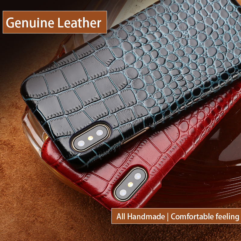 Genuine Leather Phone Case For iPhone X SE 5 5S 6 6S 7 8 Plus Crocodile Texture All handmade Custom Back cover made from cowhide
