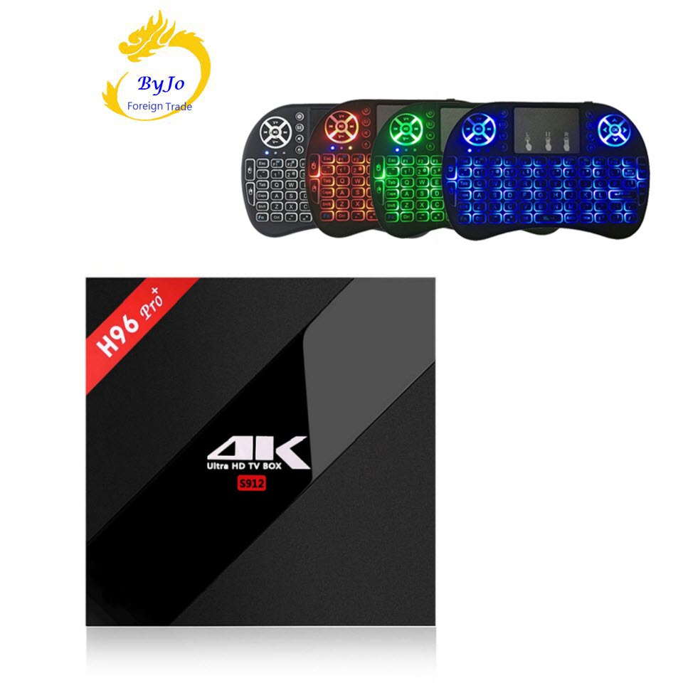 H96 Pro + 3G 32G 2,4g 5 GHz Wifi 4 K caja Amlogic S912 Top box set smart tv caja android 7,1 Android tv box H96 más Vs X96