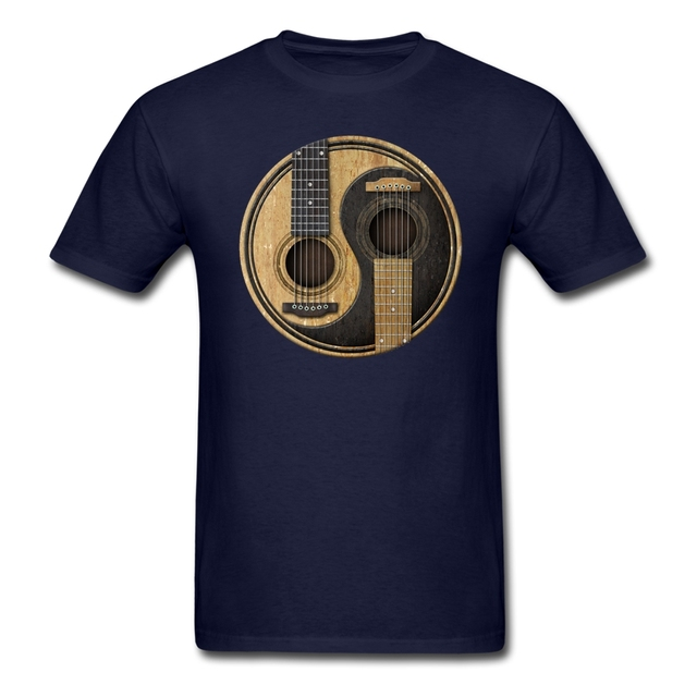 Men Man's Printing Acoustic Guitars Yin Yang Tee Shirt Custom Short Sleeve Boyfriend's Tshirt For Men