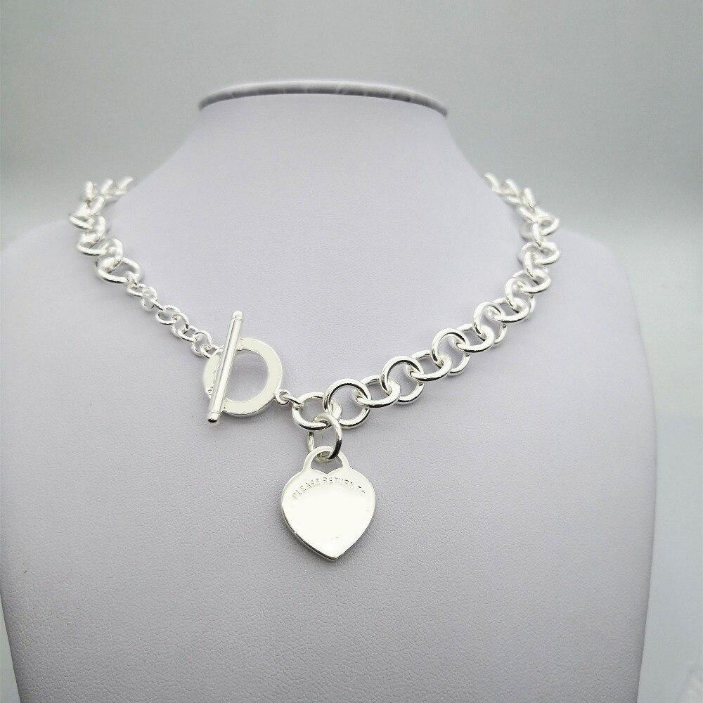 TIFF925 argent pop classique charme argent pendentif en forme de coeur coeur clé collier dames mode bijoux cadeau