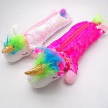 Pencil case trousse scolaire cartuchera para lapices school etui plush sequin unicorn kawaii supplies lapicera estuch stationery