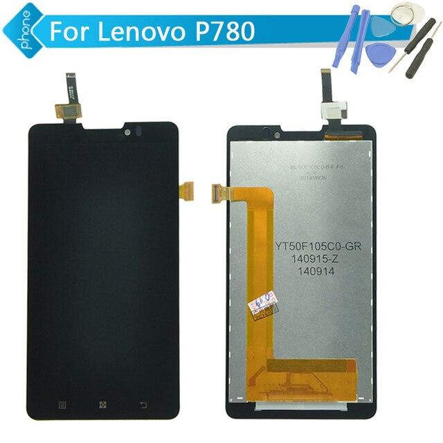 Замена ЖК-Дисплей Сенсорный Экран Digitizer Ассамблеи Завершение Для Lenovo P780 + Инструменты Черный Бесплатная Доставка