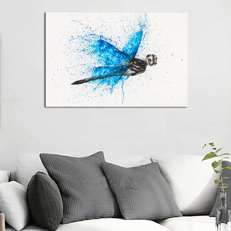 A Dragonfly Watercolor Canvas Painting Prints Living Room Home Decor Modern Wall Art Oil Painting Posters Pictures Accessories in Painting Calligraphy from Home Garden