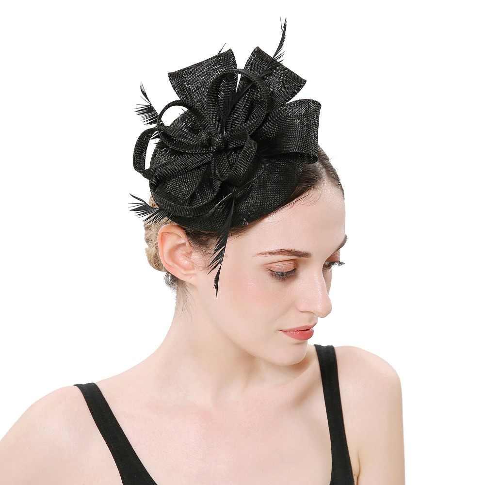 8c22ed3732882 ... Haimeikang Women Formal Hats Chapeau pillbox Caps Mariage Navy  Imitation Sinamay Ladies Elegant feathers Fascinators Headband ...