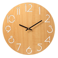 Silent Wooden Wall Clock Modern Design Nordic Kitchen Wall Clock Wood Living Room Decoration Pendule Murale Home Watch 40C0007
