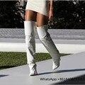 2017 Europea/Americana Nueva Moda Mujeres Sexy Zapatos de Tacón Fino Sobre La Rodilla Kim Kardashian Botas Punta estrecha Zapatos de Cosplay