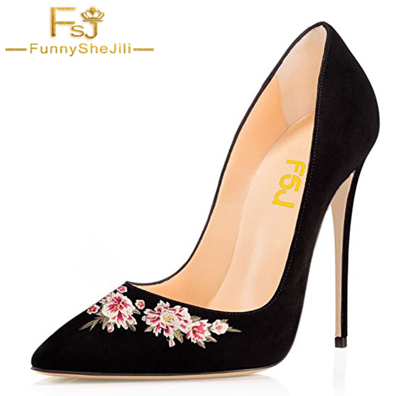 Handcraft Embroider Black Suede Womens Pointed Toe Bow Shoes High Thin Heels Pumps Party Dress Ladies Slip On Shoes FSJ 4 11 16 white lace embroider women shoes slip on high heels glaze surface metal thin heel pumps female wedding dress shoes pointed toe