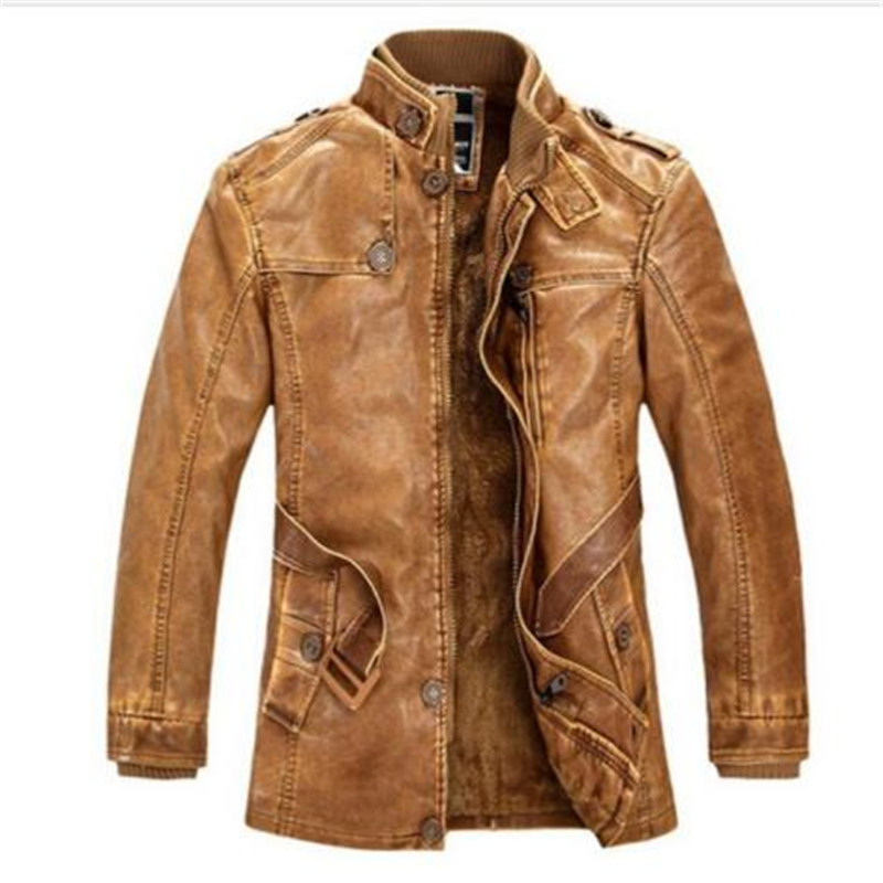 Jacket Motorcycle Coats Bomber Thick Winter Mens Brand 4XL Stand-Collar Washed Plus-Size