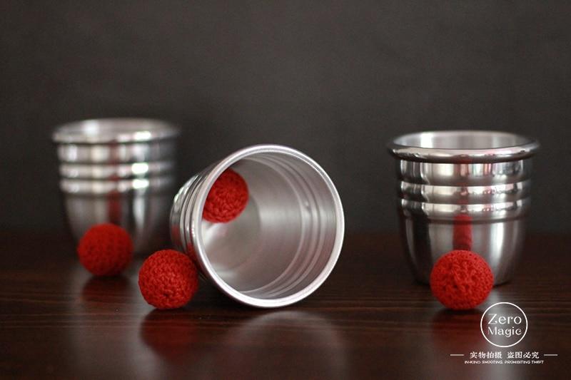 Super Professional Aluminum Three Cups And Balls With Chop Cup (Large) Magic Tricks Magician Close Up Illusion Gimmick Props