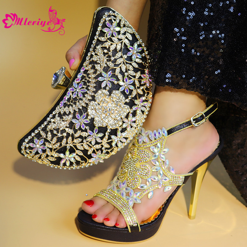 New Arrival Ladies Italian Shoes and Bag Set Decorated with Rhinestone Nigerian Women Wedding Shoes and Bag Womens Shoes Heels цена