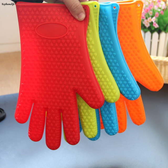 Keythemelife 1 Pair Home Kitchen Gloves Silicone Oven Heat Resistant Temperature Baking