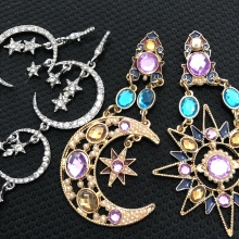 Ztech Vintage Colorful Rhinestone Drop Earrings Women Classic Elegant Moon & Star Pendants Pendientes Wholesale Statement Bijoux недорого