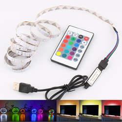 Светодиодные ленты USB 5 В 2835 50 см 1 м 2 м 3 м 4 м 5 м свет лампы фонарик освещения RGB/белый пульт дистанционного управления для ТВ фонового