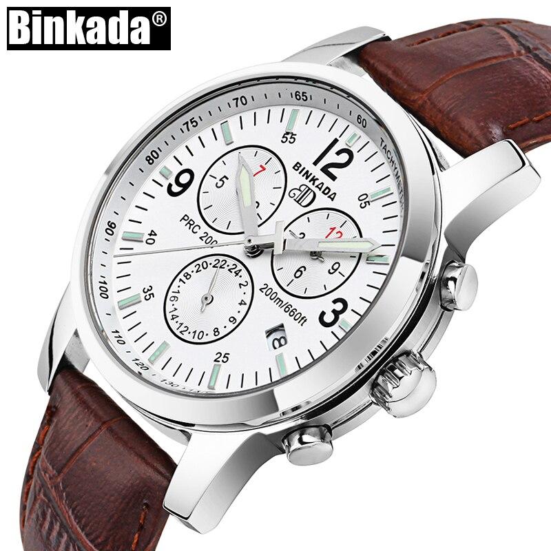 Top Brand BINKADA High Quality Mens Watches Luxury New Sapphire Luminous Automatic Watches 3 Eyes Mechanical Watch Clock