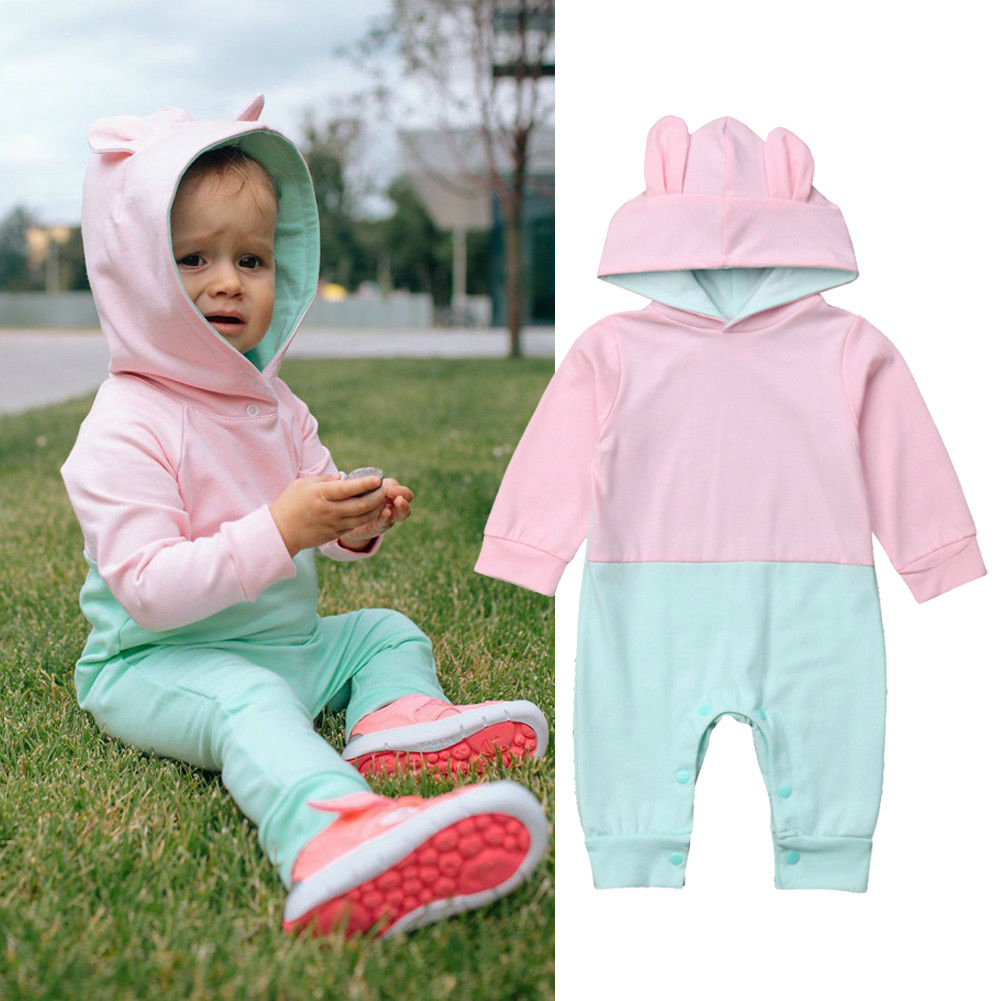 Newborn Baby Girls Boys Bunny Ears Hooded Romper Autumn Fashion Long Sleeve Patchwork Jumpsuits Baby Casual Cotton Rompers 0-24M christmas newborn baby boys girls new letter romper fashion long sleeve cartoon snowman jumpsuit baby casual cotton rompers