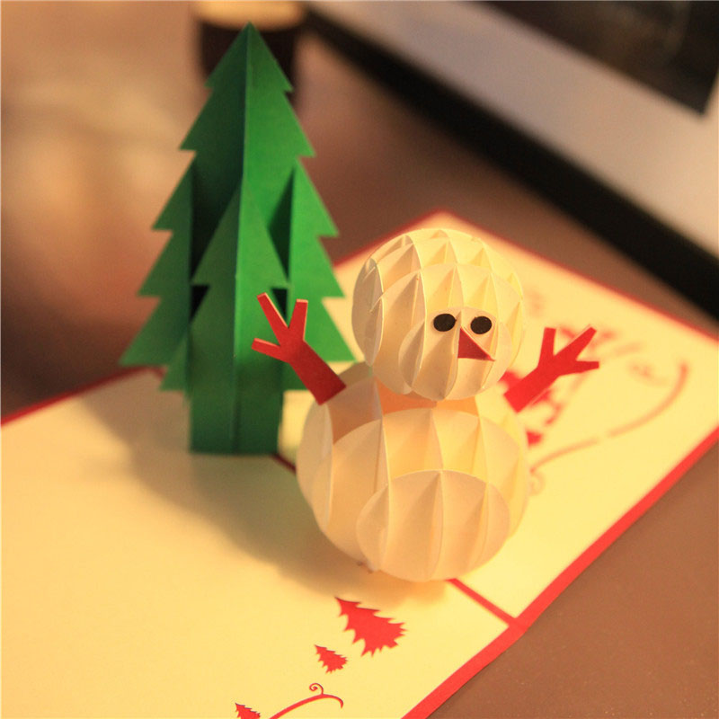 3D Laser Cut Handmade Christmas Tree Snowman Paper Invitation Greeting Cards PostCard Christman Decor Children Creative Gift