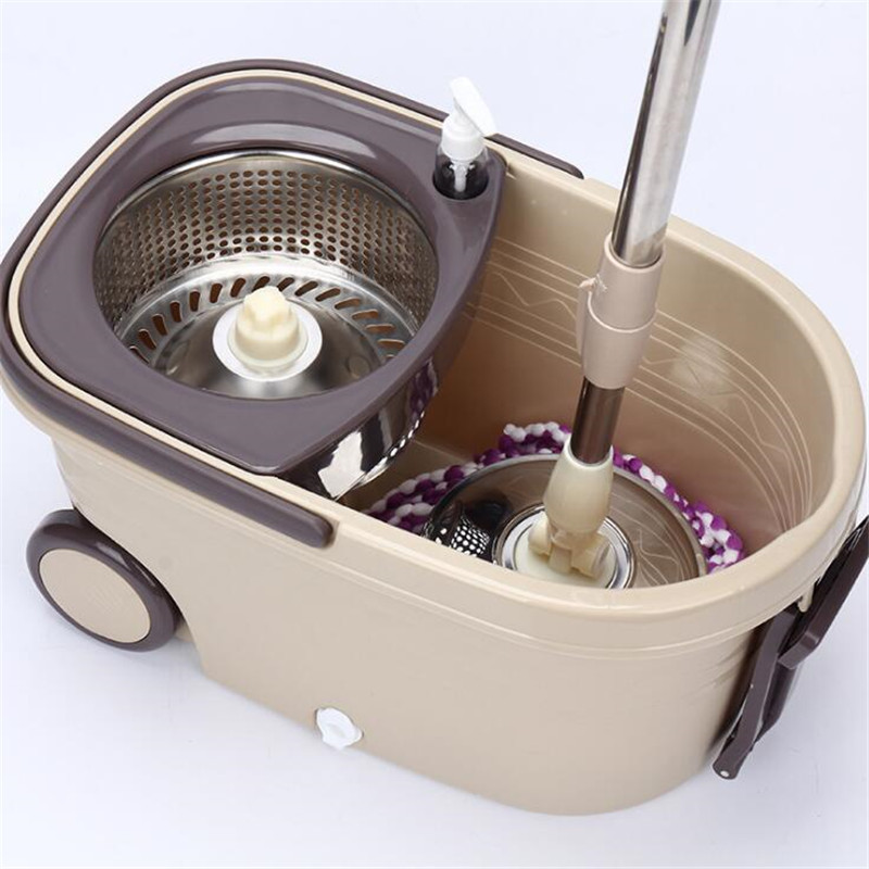 Double Drive Hand Pressure Spin Mop Bucket 360 Degree Rotating Dry Mop with Cleaning Bucket Household