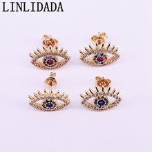 10Pair Gold color cz Zirconia paved fashion trendy jewelry delicate eye shaped stud earring