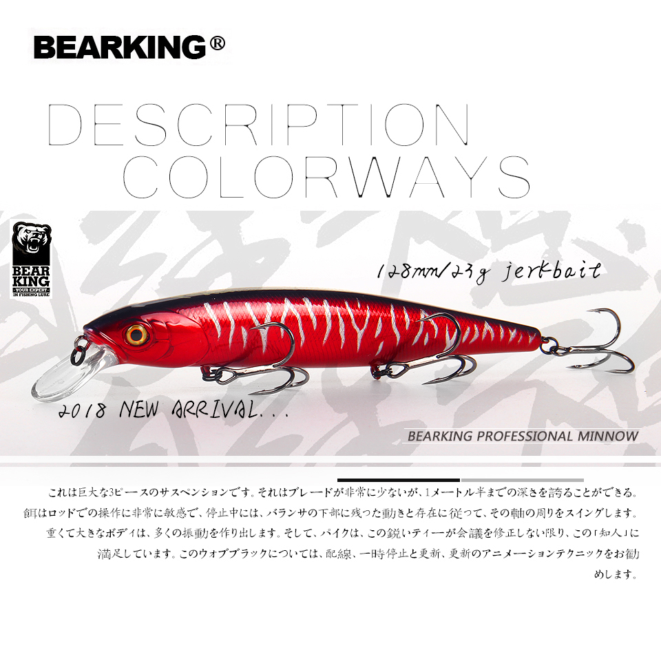 Bearking 2018 New hot model 128mm 23g professional quality fishing lures hard bait dive 1.5m quality wobblers minnow stylish round frame metal leg match flecky sunglasses for women