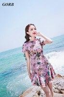 2017 Yeni Yaz Sıcak Satış High-end Baskılı Plaj Tatil Pembe Elbiseler Kısa Kollu Seksi Kadınlar Mini Lotus Yaprağı elbise G3338