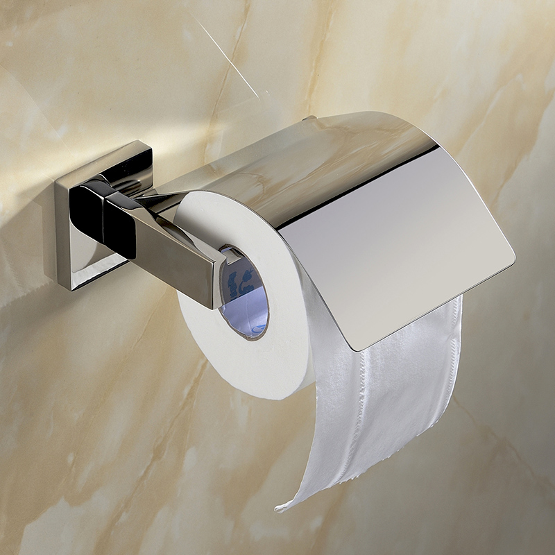 Modern Chrome Polished Sus304 Stainless Steel Toilet Paper Holder With Cover Wall Mounted Bathroom Hardware Sets