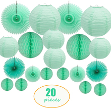 20 Pcs Per Set Mint Green Chinese Japanese Round Paper Lantern Tissue Fan Honeycomb for Wedding Backdrop Hanging Decor