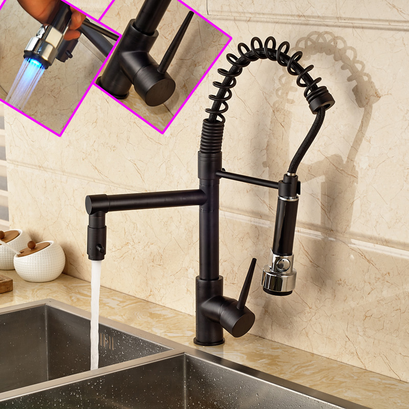 Wholesale and Retail Oil Rubbed Bronze Kitchen Faucet Dual Spout with LED Color Changing Deck Mounted Single Handle allen roth brinkley handsome oil rubbed bronze metal toothbrush holder