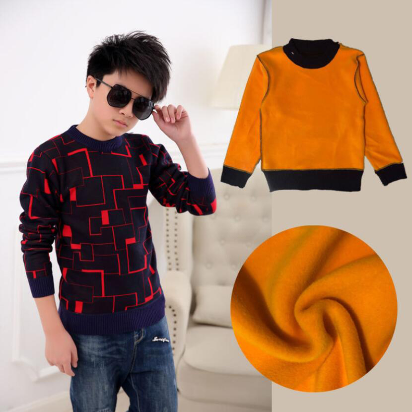 sweaters boy winter warm jacket Pullovers plush inside Knitted sweaters Loose jacket 3-13T children velvet sweaters boys knitted 3