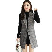 2019 Womens Sleeveless Wool Plaid Coat New Fashion Parker Long Woolen Slim Type Female Jackets Spring Winter