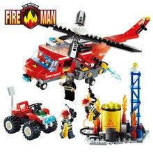 Gudi serie bloques de construcción de camiones de extinción de incendios de educación compatibles enlighten diy juguetes regalo para los niños 9213 ~ 9215