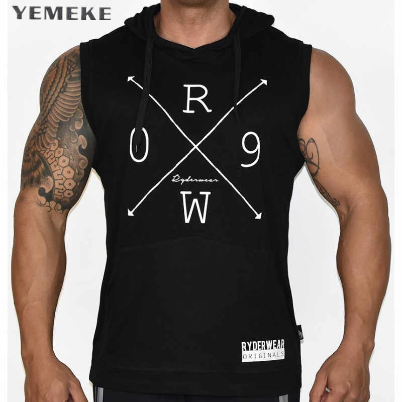 Ropa de algodón de la marca YEMEKE2017, culturismo, uniendo antes y después el asimétrico, Fitness camiseta sin mangas para hombres