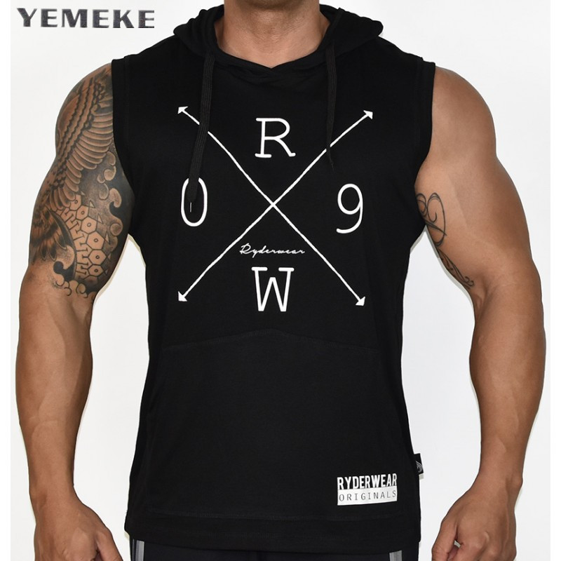 YEMEKE2017 Brand Cotton Clothing Bodybuilding, Joining Together Before And After The Asymmetric, Fitness Men gyms   Tank     Top
