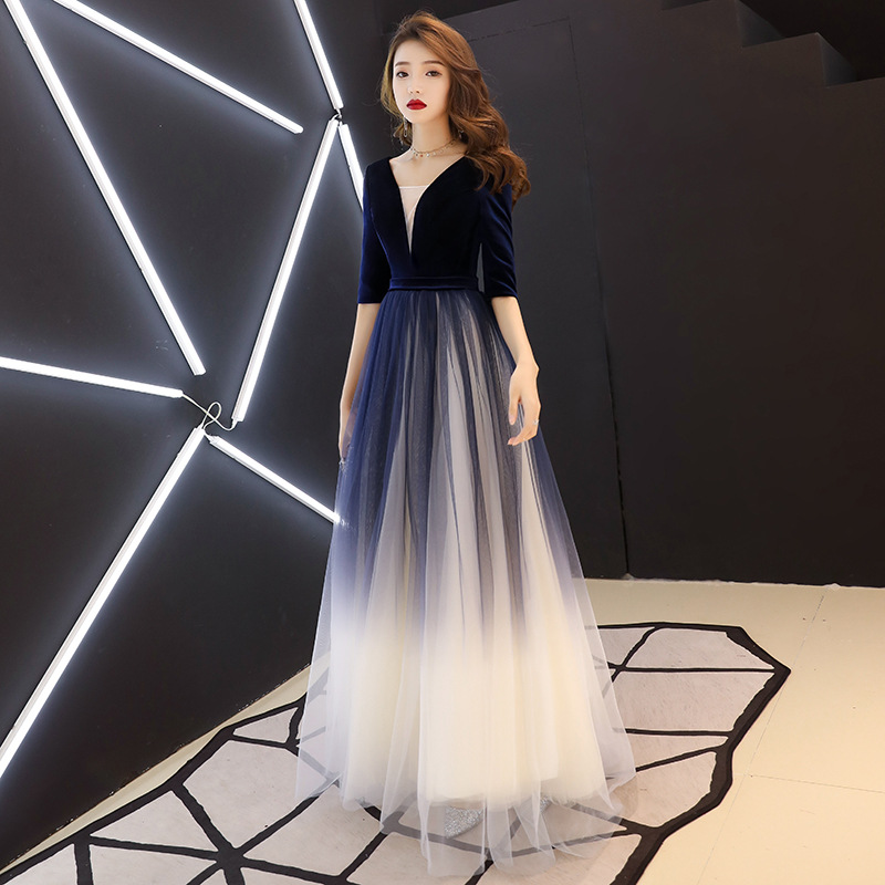 Sexy   Evening     Dress   2019 V-Neck Beads Open Back A Line Long   Evening     Dresses   Party Vestido De Festa Gradient Tulle Prom Gowns