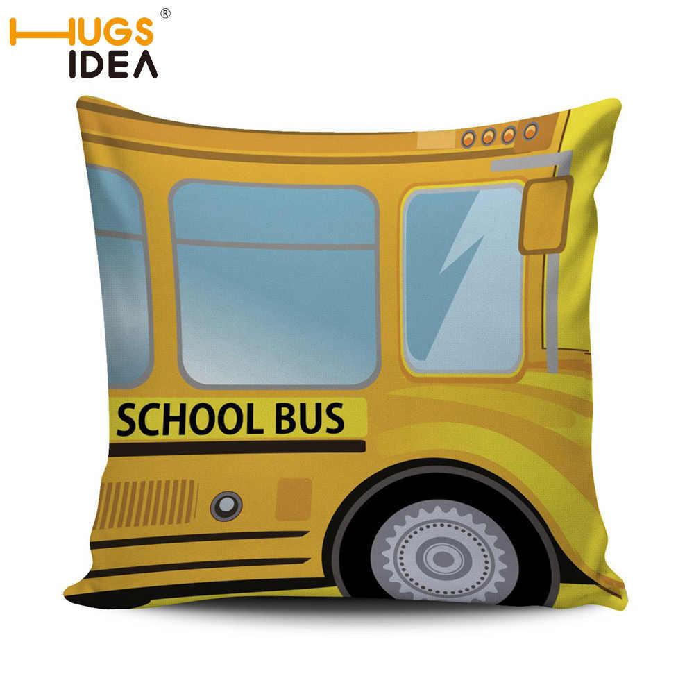 Motorista de Ônibus Escolar HUGSIDEA Fronha Decorativo Capa de Almofada Carro Almofada Do Assento Do Sofá Fronha Sala de estar Cadeira Para Trás