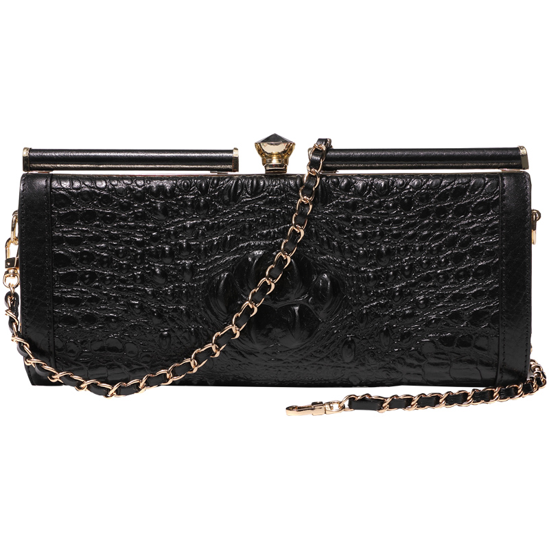 Woman's Genuine Leather Alligator Hasp Celebrity Day Clutches Handbag Clutch Wallet Purse Chains Shoulder Diamonds Banquet Bag chinese style vintage embossing genuine leather hand clutch bag celebrity day clutches women shoulder bag purse wallet phone bag