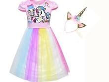 2019 new children's holiday dress unicorn girls party princess dress colorful mesh print stitching dress mesh panel botanical print dress