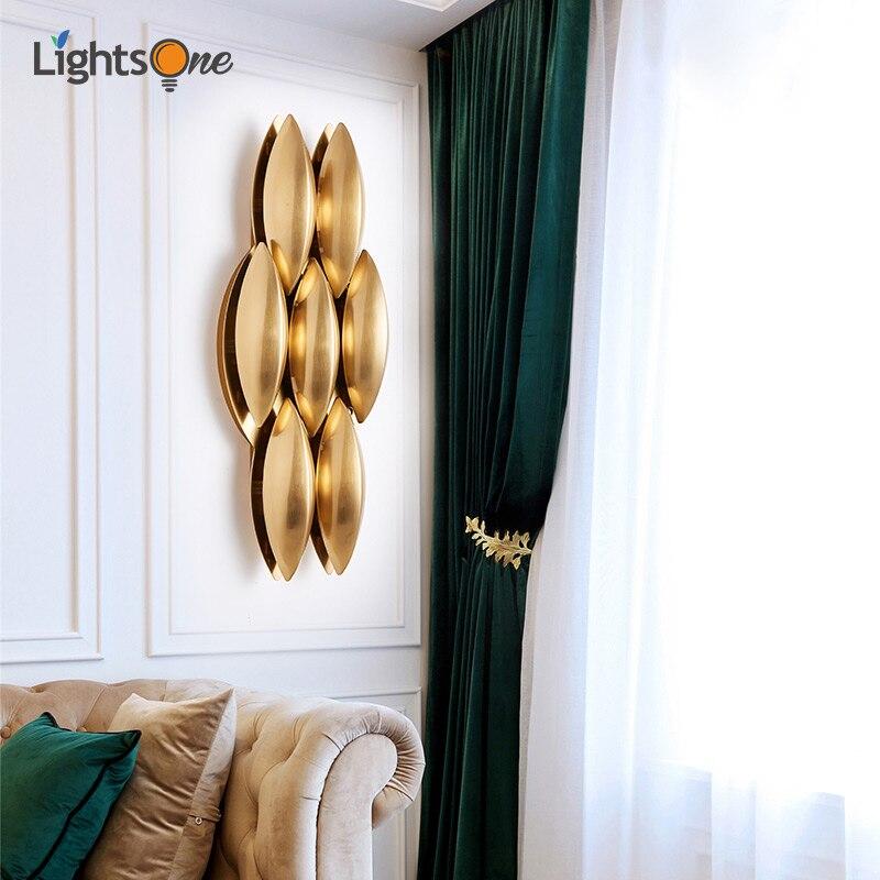 Postmodern American creative simple wall lamp golden light luxury villa living room aisle model room wall