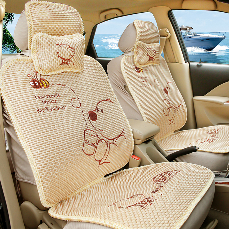 High Quality Summer Meryl Cartoon Bear Cute Car Seat Cover Universal Styling Covers For Seats Ice Silk In Automobiles From