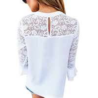 FUNOC Apparel White Blouse Shirt Women Top Femme Lace Hollow Out Ruffle Sleeve Blusas Mujer 2017