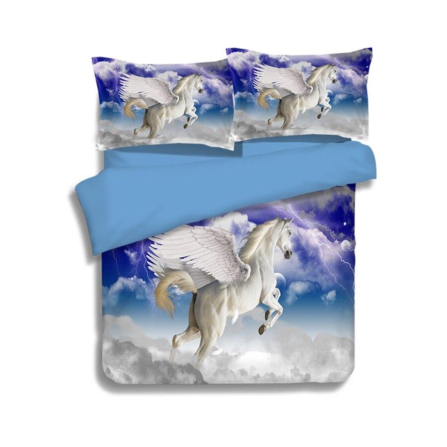 3D fantaisie animaux flammes licorne pégase cheval ensemble de literie double reine roi taille housse de couette drap de lit taie d'oreiller Textiles de maison