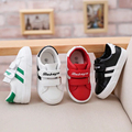 2016 Brand Autumn low striped boy girl child leather sneakers infant first walkers casual fashion toddle loafer baby white shoes